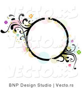 Vector of Grungy Circle Background Frame with Splatters, Vines and Butterflies by BNP Design Studio