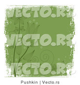 Vector of Grungy Dark Green Floral Vines with White Grunge Borders - - Background Design Element by Pushkin