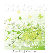 Vector of Grungy Green Background with Vines and Butterflies by Pushkin