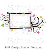 Vector of Grungy Rectangular Background Frame with Splatters, Vines and Butterflies by BNP Design Studio