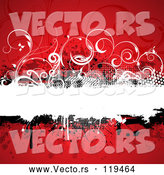 Vector of Grungy Red Background with a Text Bar and Vines by KJ Pargeter