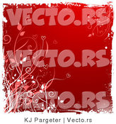 Vector of Grungy Red Floral Vines Background with White Edges by KJ Pargeter
