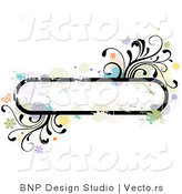 Vector of Grungy Rounded Long Background Frame with Splatters, Vines and Butterflies by BNP Design Studio