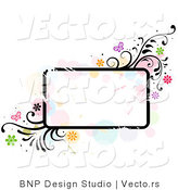 Vector of Grungy Rounded Rectangular Background Frame with Splatters, Vines and Butterflies by BNP Design Studio
