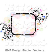 Vector of Grungy Rounded Square Background Frame with Splatters, Vines and Butterflies by BNP Design Studio