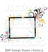 Vector of Grungy Square Background Frame with Splatters, Vines and Butterflies by BNP Design Studio