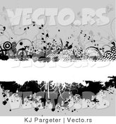 Vector of Grungy White Copyspace Bar Bordered with Black Circles, Vines, Halftone and Splatters over Gray by KJ Pargeter