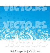 Vector of Grungy White Floral Vines with Blue Snowflakes - Digital Background Design by KJ Pargeter