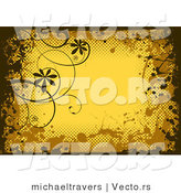 Vector of Grungy Yellow Background Design Bordered with Black and Brown Grunge Splatters, Halftone and Vines by Michaeltravers