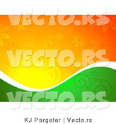 Vector of Half Green and Orange Floral Background Design Divided by a Thin White Wavy Band by KJ Pargeter