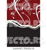 Vector of Half White Vines over Red and Half Black Background Design by Leonid