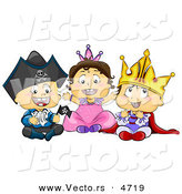 Vector of Halloween Cartoon Toddlers Wearing Pirate, Princess and King Costumes by BNP Design Studio