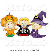 Vector of Halloween Cartoon Toddlers Wearing Pumpkin, Vampire, and Witch Costumes by BNP Design Studio