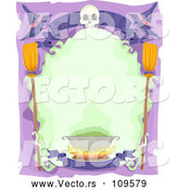 Vector of Halloween Frame with a Skull, Banner, Witch Hats, Broomsticks and Cauldron by BNP Design Studio