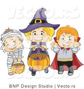 Vector of Halloween Mummy, Witch and Vampire Kids Trick or Treating by BNP Design Studio