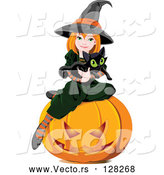 Vector of Halloween Witch Holding a Kitten and Sitting on a Pumpkin by Pushkin