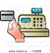 Vector of Hand Holding a Debit Card over a Gold Cash Register by Lal Perera