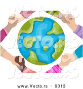 Vector of Hands Holding Around a Globe by BNP Design Studio