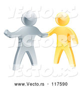 Vector of Handshake Between 3d Gold and Silver Men by AtStockIllustration
