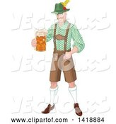 Vector of Handsome Oktoberfest German Guy Holding out a Beer Mug by Pushkin