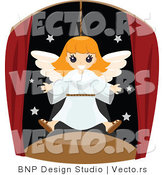 Vector of Happy Angel Girl Flying in a Theatre Play by BNP Design Studio