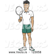 Vector of Happy Asian Tennis Player Guy Holding a Racket by Cartoon Solutions