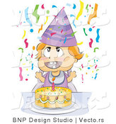 Vector of Happy Baby Birthday Party with Cake and Streamers by BNP Design Studio