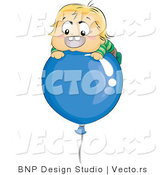 Vector of Happy Baby Boy Floating on a Blue Balloon by BNP Design Studio