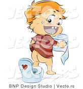 Vector of Happy Baby Boy Going Potty by Himself by BNP Design Studio