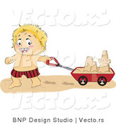 Vector of Happy Baby Boy Pulling Sand Castle in a Cart by BNP Design Studio
