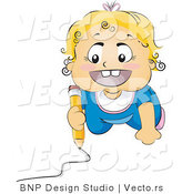 Vector of Happy Baby Drawing Picture on a Floor by BNP Design Studio