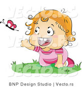 Vector of Happy Baby Girl Chasing a Butterfly While Crawling on Grass by BNP Design Studio