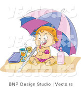 Vector of Happy Baby Girl in a Bikini, Applying Sun Block on a Beach by BNP Design Studio