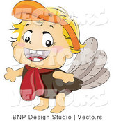 Vector of Happy Baby in a Turkey Costume by BNP Design Studio