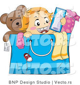 Vector of Happy Baby Popping out of a Shopping Bag by BNP Design Studio