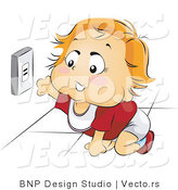 Vector of Happy Baby Reaching for an Electrical Socket by BNP Design Studio