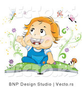 Vector of Happy Baby Reading a Book About Butterflies and Fairies by BNP Design Studio