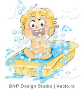 Vector of Happy Baby Soaping up in a Tub by BNP Design Studio