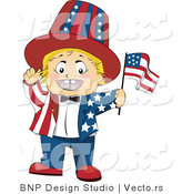 Vector of Happy Baby Waving a Flag and Wearing an American Suit by BNP Design Studio