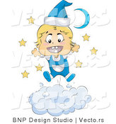 Vector of Happy Baby Wearing Blue Pajamas on a Cloud by BNP Design Studio