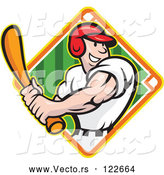Vector of Happy Baseball Player Batting over a Field Diamond 2 by Patrimonio