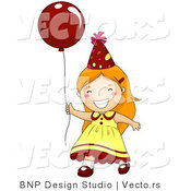 Vector of Happy Birthday Girl Running with Red Balloon by BNP Design Studio