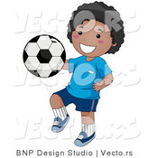 Vector of Happy Black Boy Kneeing Soccer Ball by BNP Design Studio