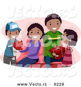 Vector of Happy Black Children Giving Their Parents Valentine's Day Gifts by BNP Design Studio