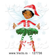 Vector of Happy Black Christmas Fairy Girl in Christmas Clothes by Pushkin