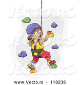 Vector of Happy Black Girl Climbing a Wall in a Harness by BNP Design Studio