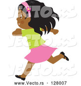 Vector of Happy Black Girl Running by Rosie Piter