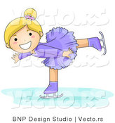Vector of Happy Blond Girl Figure Skating by BNP Design Studio