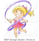 Vector of Happy Blond Gymnast Girl Dancing with Purple Ribbon by BNP Design Studio