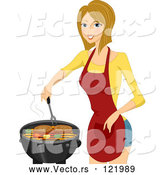 Vector of Happy Blond Lady Cooking Steaks on a BBQ by BNP Design Studio